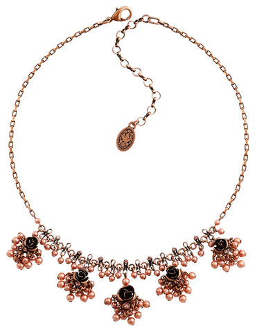 necklace Indian Roses pink antique copper medium, small, extra small