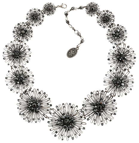 necklace collier Distel black antique silver