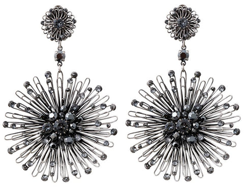 earring clip dangling Distel black antique silver extra large