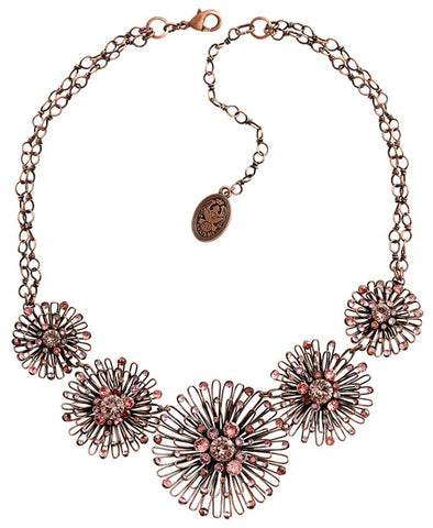 necklace Distel pink antique copper