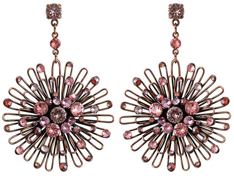 earring stud dangling Distel pink antique copper large