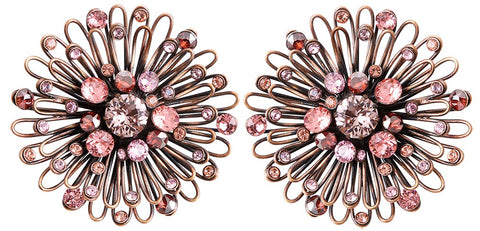 earring stud Distel pink antique copper medium