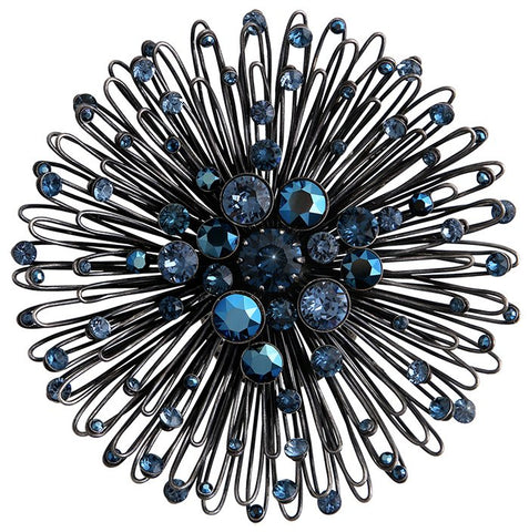 ring Distel blue Dark Antique Silver extra large