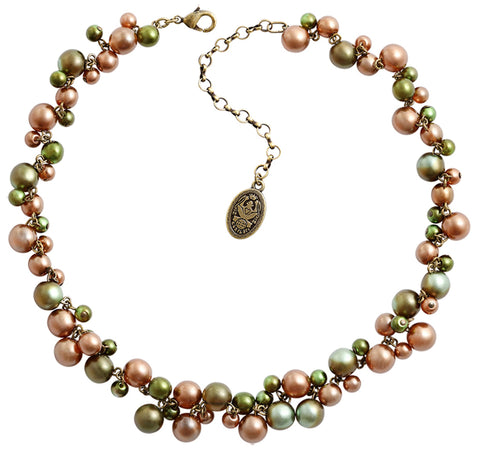 necklace Caviar de Luxe brown/green antique brass