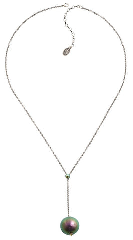 necklace pendant (long) Bolalla green/lila antique silver extra large