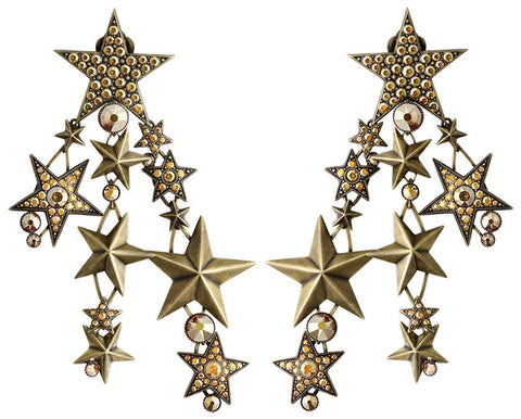 earring clip dangling Dancing Star brown antique brass