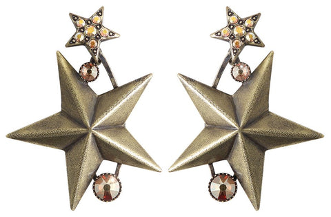 earring stud dangling Dancing Star brown antique brass