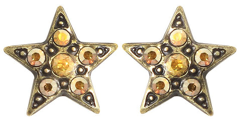 earring stud Dancing Star brown antique brass extra small