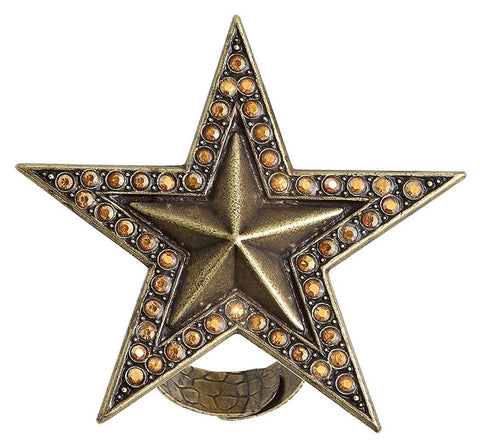 ring Dancing Star brown antique brass extra large