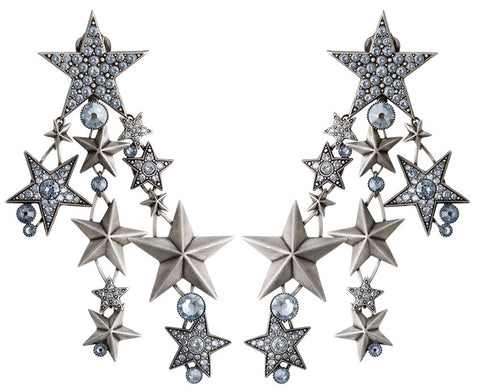 earring clip dangling Dancing Star grey antique silver