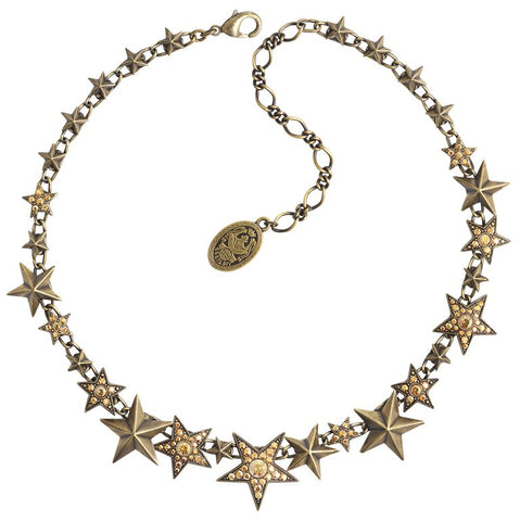 necklace Dancing Star brown antique brass