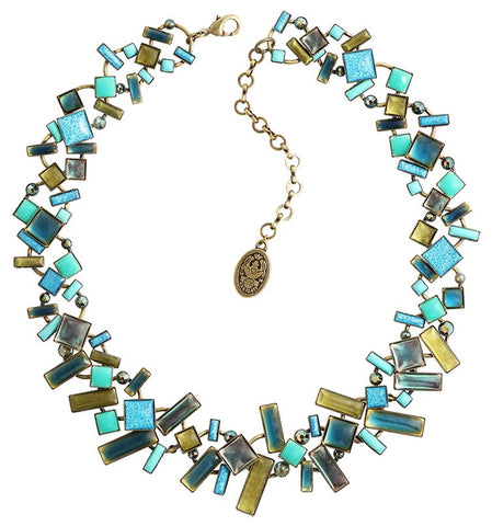 necklace Shake to the Rhythm khaki/green antique brass