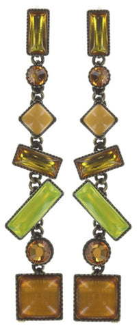 earring stud dangling Shake to the Rhythm yellow antique brass