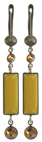 earring dangling Shake to the Rhythm yellow antique brass
