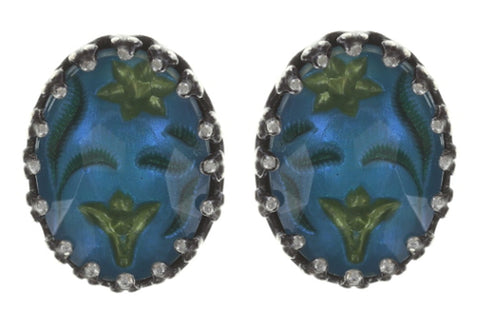 earring stud Chinoiserie blue/green antique silver