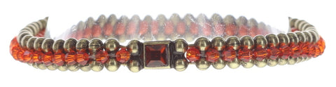 bracelet Bead Snakes red/orange antique brass