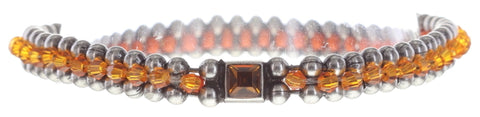 bracelet Bead Snakes orange antique silver
