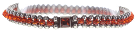 bracelet Bead Snakes red/orange antique silver