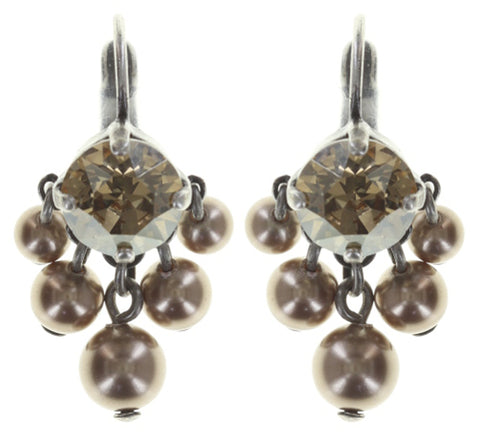 earring eurowire dangling Pearl Shadow beige antique silver