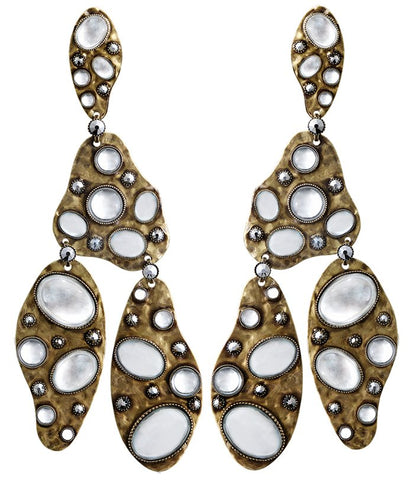 earring stud dangling Color Drops white antique brass