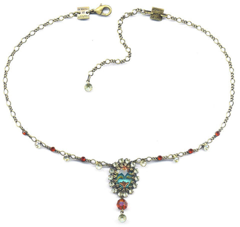 necklace Chinoiserie multi brass
