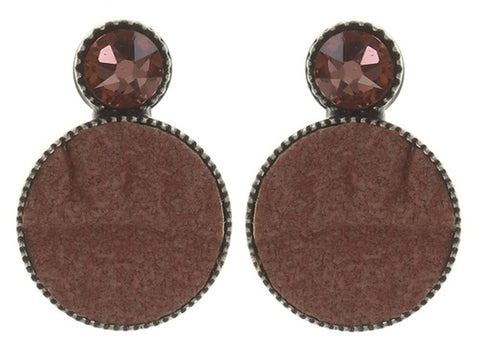 earring stud Planet River beige/brown antique silver