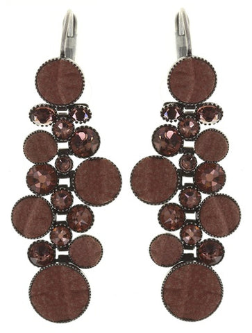 earring eurowire dangling Planet River beige/brown antique silver