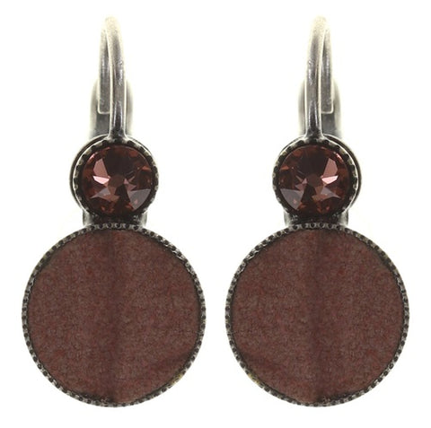 earring eurowire Planet River beige/brown antique silver