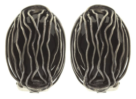 earring clip Captured black antique silver