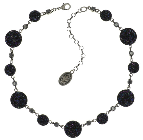 necklace Studio 54 black antique silver size S,XS