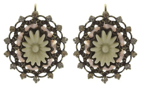 earring eurowire Macaron beige/white antique brass size S