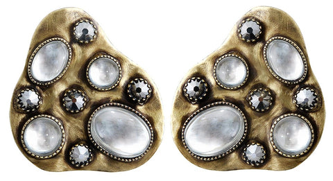 earring stud Color Drops white antique brass