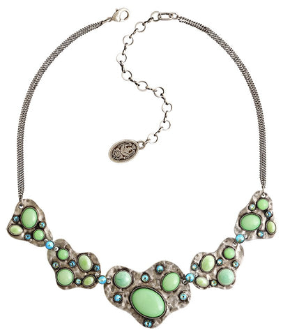 necklace Color Drops green antique silver