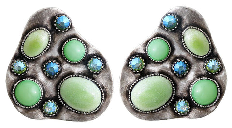 earring stud Color Drops green antique silver