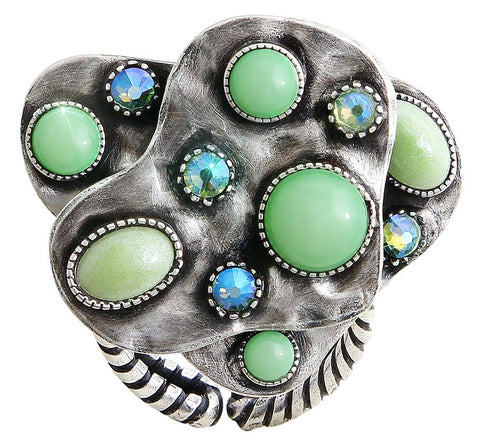 ring Color Drops green antique silver