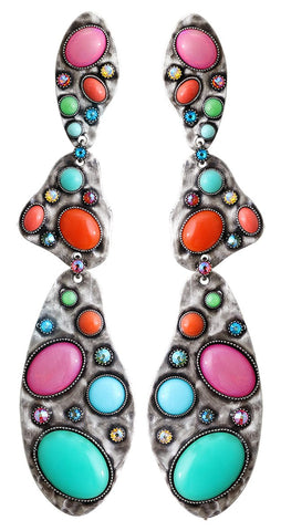 earring stud dangling Color Drops multi antique silver
