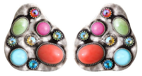 earring stud Color Drops multi antique silver