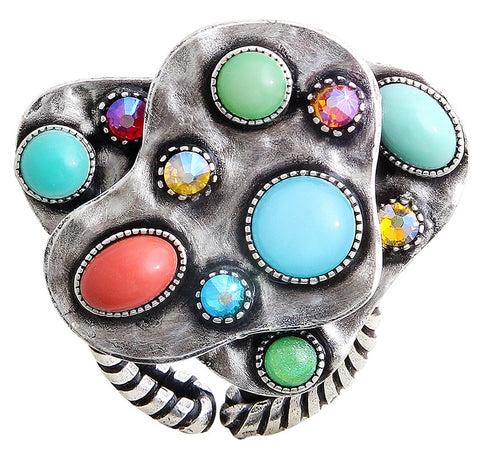 ring Color Drops multi antique silver