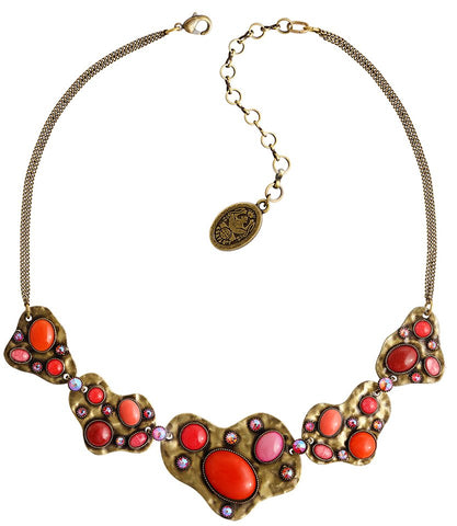 necklace Color Drops coralline antique brass