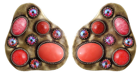 earring stud Color Drops coralline antique brass