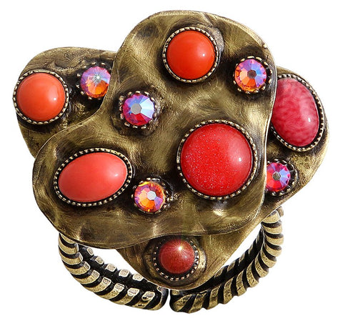ring Color Drops coralline antique brass