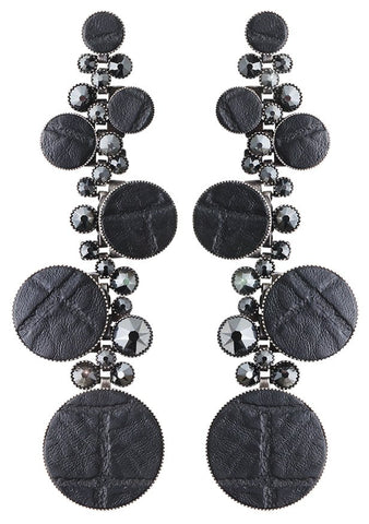 earring stud dangling Planet River black antique silver