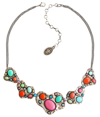 necklace Color Drops multi antique silver