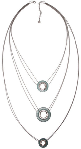 necklace (long) Eternal Rings lt.blue antique silver