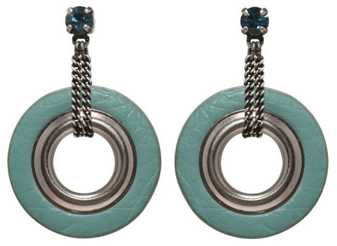 earring stud dangling Eternal Rings lt.blue antique silver