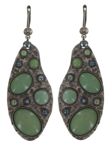 earring dangling Color Drops green antique silver