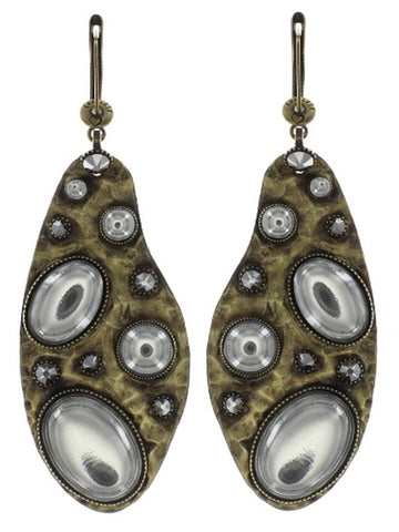 earring dangling Color Drops white antique brass