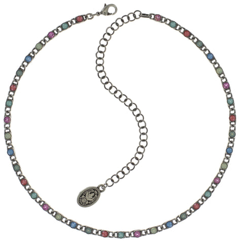 necklace choker long Lost Garden pastel multi antique silver
