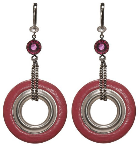 earring dangling Eternal Rings pink antique silver