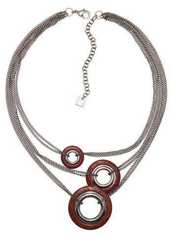 necklace Eternal Rings red antique silver